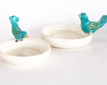 Handmade Turquoise and Green Bird on a White Dish