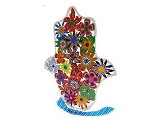 Flower Hamsa, Hamsa, Hamsa hand, Judaica, Jewish Gifts, Evil eye Hamsa, Metal Hamsa, Judaica art, Hamsa Charm, Metal Art, Israeli Art