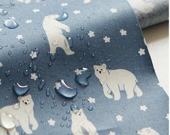 1 Yard -Waterproof  fabric (cotton) - Friendly bear