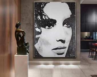 ELIZABETH TAYLOR Art,Liz Taylor Designs,Elizabeth Taylor Photo,Taylor ORIGINAL Painting,Ready to Hang,Taylor Modern Art Fine Art Decor Home
