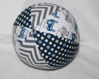 Small Gray and Blue Jeeps Boutique Ball Rattle Toy