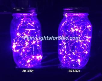 3m/9,8 pi 1 ensemble violet 30 LED guirlande lumineuse chaîne brin cr2032 pile bouton pour le bricolage, centre de table, vase, mariage, costume, rave, EDM, événement