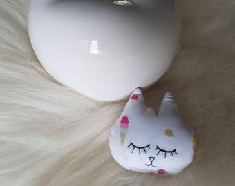 Small mini Cat Head mila white patterned glass