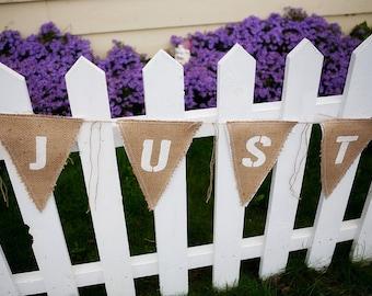 Upcycled JUST MARRIED Burlap Banner (with white felt backing) - Eco-Friendly Wedding Decor