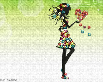 Floral girl with a heart embroidery design – 3 sizes - downloadable