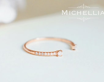 Open Infinity Band, Diamond Wedding Band, Available in 14K Gold, 18K Gold, or Platinum, B4000