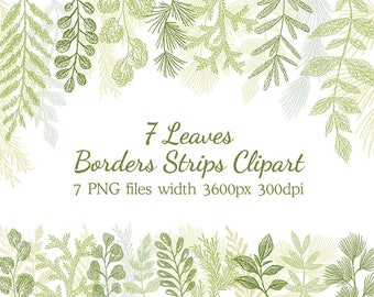 Greenery Clipart, Leaf ClipArt, Leaf headers, Botanicals for Stationery, Wedding Invitations, leaves clip art, Greenery Clip Art, borders