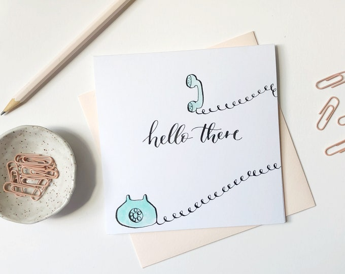Featured listing image: Hello There | Watercolor card