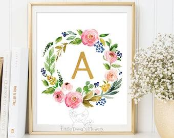 Gold Nursery Letter, Floral monogram art, printable flower, nursery initials, calligraphy monogram nursery print nursery monogram Initial 22