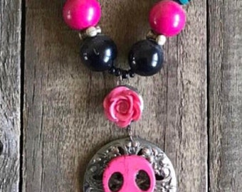 Day of the Dead Necklace, Pink Sugar Skull Necklace, Dia de los Muertos, Reclaimed Upcycled Necklace, Assemblage Necklace, Wearable Art