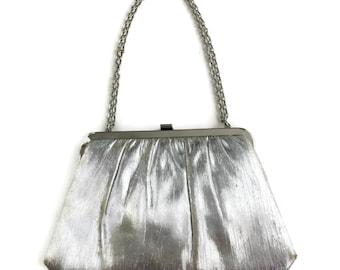 Silver Lame Evening Bag Convertible Clutch