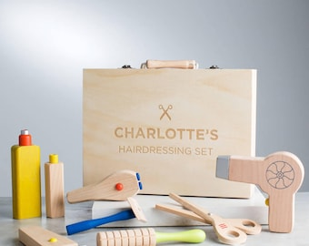 Personalised Wooden Hairdresser Set Toy