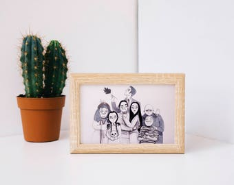 Addams family. Handmade illustration ink and marker DIN A4 & A5. Perfect for a gift!