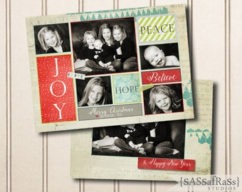 ColorStack--Christmas Card Template for Adobe Photoshop, Photographer Template, Instant Download, DIY, Commercial Use