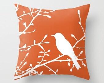 Bird on Branch Pillow Cover - Orange Decor - Burnt Orange Pillow Cover - Bird Pillow Cover - Modern Home Decor - includes insert