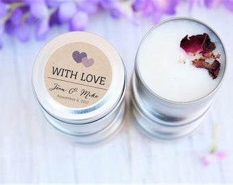 Wedding Candle Favours, With Love, Candle Bomboniere, Favours, Rustic Weddings, Thank you wedding gifts, Eco Weddings
