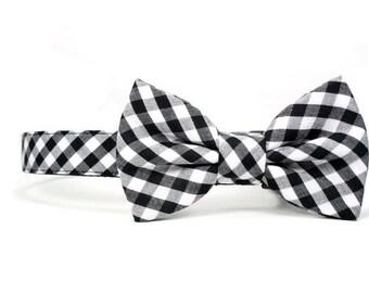 Black White Gingham Dog Bow Tie Collar Summer Wedding Check Dog Bowtie