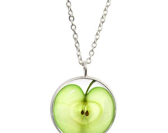Apple green necklace etsy green apple pendant and silver plated necklace aloadofball Images