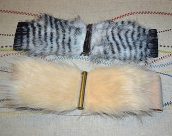 Wide cinch belt ,Wide elastic stretch corset belt, cinch belt with faux fur front ,black and white belt 26 inch to 30 1/2 inch