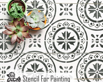 MORELLO TILE STENCIL - Mediterranean Wall Furniture Craft Floor Tile Stencil for Painting - MORE01