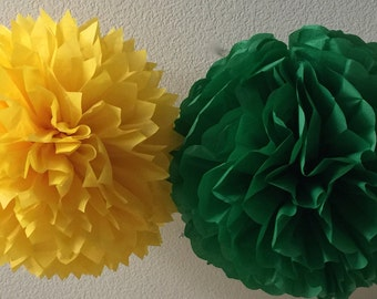 6 Tissue Poms -Your Color Choice- Sale - John Deere Birthday Party - Green and Yellow Party - tractor birthday party