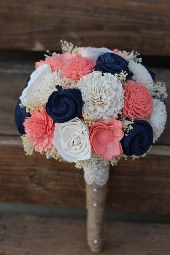 Navy Coral Bouquet wedding wedding flowers wedding bouquet