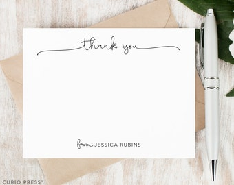 Personalized Notecard Set / Flat Personalized Stationery / Personalized Stationary Card Set / Simple Script Cute Chic Notes // WITH THANKS
