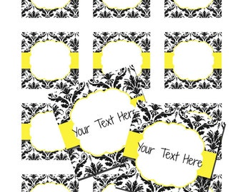 """INSTANT DOWNLOAD -  Light Yellow Black Damask 2"""" Inch Square Cupcake Favor Gift Thank You Tags"""