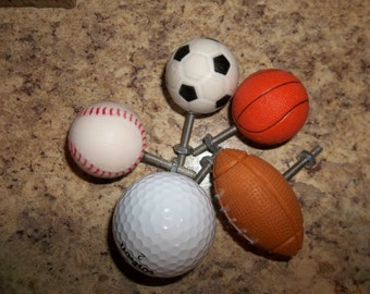 Handcrafted Football, Baseball ,Basketball , Soccer, or Golf ball cabinet knobs/drawer pulls