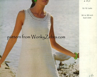 Vintage Crochet White Dress Pattern PDF 704 from WonkyZebra