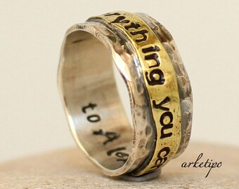 Silver Personalized Ring - Custom in and out - Sterling Silver and brass Band - Women's/ Men's Ring - Hammered - Handmade - Wedding Ring