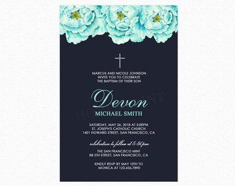 Baptism Invitation Boy, Watercolor Blue Peonies, Printable Baptism Invitation, Printed Shipped Baptism Invitations