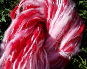 Handspun Wool Art Yarn, Thick & Thin, Bulky Weight Yarn, Red, Pink, White, Valentines Day, Knit, Crochet, Weave, Felt, Crafts, Rustic, Scarf