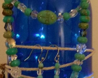 Turquoise Stone & Scarab Beaded Three piece set