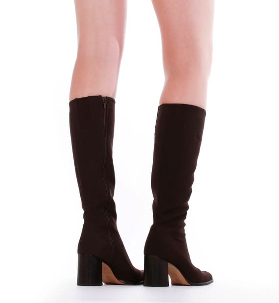 Brown 90's High Minimalist 4 Nine 5 Tall Size 5 UK West 5 US6 37 Shoes Vintage EUR Stretch N Boots Knee 6 Boot Chunky Women's Neoprene FqXWEwPO1X