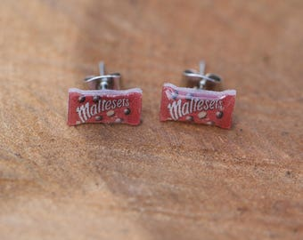 "SALE!!!  Tiny ""Malteasers""  stud earrings, quirky food jewellery"