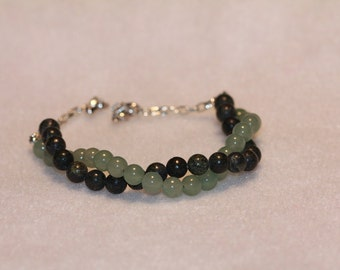 Green Aventurine and Russian Serpentine Bracelet--Gem Beads
