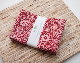 Large Cloth Napkins - Set of 4 - (N4492) - Red Floral Paisley Modern Reusable Fabric Napkins