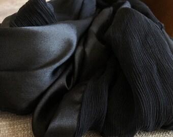 Double Sided Black Silk Scarf