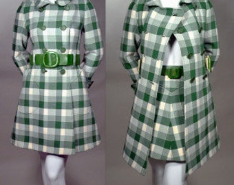 COURREGES, I MAGNIN-PARIS 60s Mod 2 Piece Suit_All Original Courreges, True 1960s Vintage_Mini_2 Belts_Green & Cream Plaid_French_France