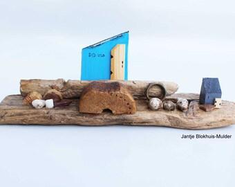 Turquoise Fishing Shack on Driftwood, Found Beach Object Folk Art