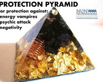 Protection Pyramid/Crystal Orgonite Orgone Pyramid For Protection against Evil By DR NEB HERU/Black Onyx/ Buy 2 Get 1 Free