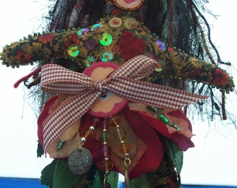 Autumnal Print Corduroy Decorative Art Doll