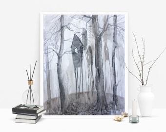 Go home. Mist. Mystical Landscape. Mixed Media. Fantasy