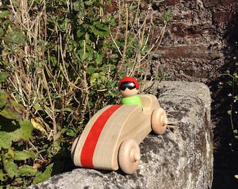 Wooden racing car with driver