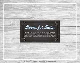 Chalkboard Baby Shower Book Instead of Card Insert - Printable Baby Shower Books for Baby - Blue Chalkboard Baby Shower - Book Cards - SP156