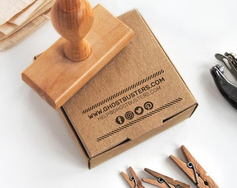 Custom Business Card Stamp with social media icons, contact info, website and email for DIY business cards and Etsy Shop stamp for envelopes