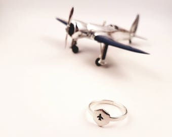Sterling Silver Jet Airplane Ring