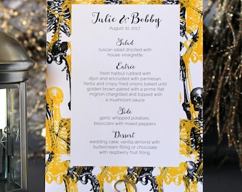 Halloween Skull Modern Menu Spooky Creepy Gothic Dark Black White Yellow Scary Fall Wedding Party Menu - Script Font