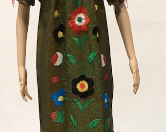 Hand Embroidered Dress Ethnic Floral Maxi Frock Vintage